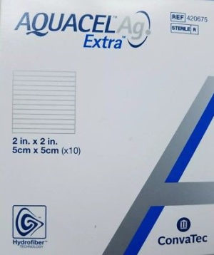AQUACEL Ag Extra Hydrofiber Dressing, 2″ x 2″
