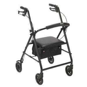 Drive Steel Rollator 6in Wheels 300lb Capacity Black