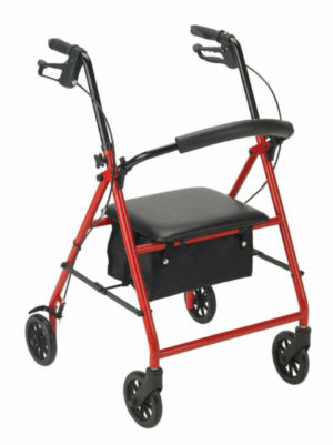 Drive Steel Rollator 6in Wheels 300lb Capacity Red