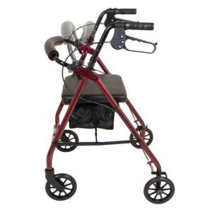 Probasics Aluminum Rollator 6in Wheels 300lb Capacity Burgundy