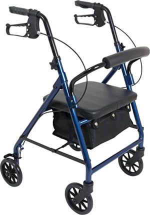 Probasics Aluminum Rollator 6in Wheels 300lb Capacity Blue